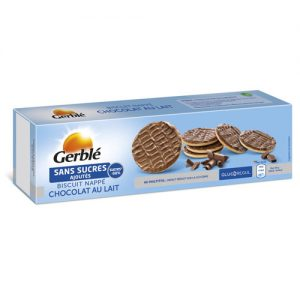 GERBLE NO ADDED SUGAR Milk chocolate coated biscuits